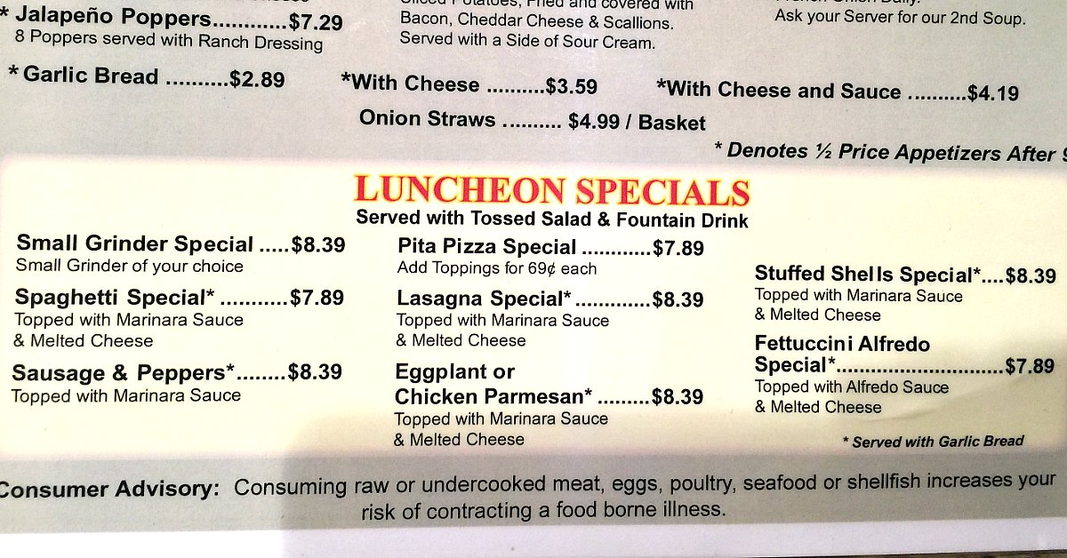 Lunch Specials Palm Harbor